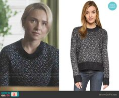 Juliette's black and white speckled sweater on Nashville.  Outfit Details: https://wornontv.net/66084/ #Nashville