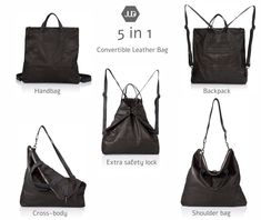 Items similar to Black Leather crossbody bag - Convertible Leather sling bag SALE black leather backpack purse - Women's Leather messenger - leather Rucksack on Etsy Leather Diaper Bags, Brown Leather Backpack, Black Leather Crossbody Bag, Mochila Hipster, Diaper Bag Backpack, Unisex, Laptop Tote, Shopper, Portable