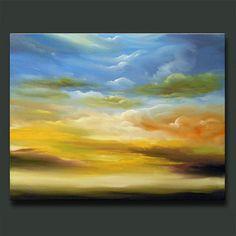 art abstract original blue sky yellow clouds violet 28 x 22 x - Mattsart Cloud Art, Star Cloud, Yellow Cloud, Yellow Fields, Impressionist Landscape, Wall Art, Wall Decor, Abstract Art, Clouds