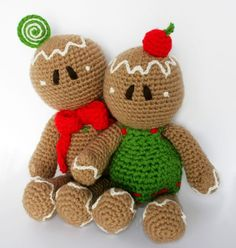 Holiday Amigurumi PDF Pattern (Crochet pattern): Ginger Rogers & Bread Astaire -Gingerbread Man-. $5.30, via Etsy.