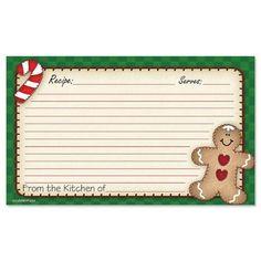 Gingerbread Recipe Cards - 3 x 5 $4.99