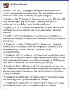 Ini DAFTAR Korban yang Dikabarkan Meninggal Dalam Macet Mudik Brebes Dikutip dari fb Nur Akhnad Tashadi Brebes Selasa (5/7/2016):  Innalillahi......Yaa Allah.....apa yang bisa kami perbuat. Melihat kejadian ini mereka meninggal bukan karena kecelakaan. Tapi karena kelelahan terjebak kemacetan dalam kondisi fisik mereka yang mgkn kurang baik... 7. Kejadian tgl 3 juli 2016/ AZIZAH/ p/ 14 th/ Kutoarjo/ apnoe causa CO2 toksic [terjebak mcet dlm mobil dg AC Hidup lbh dari 6 jam] / meninggal dlm…