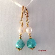 Beaded Earrings, Dangle Earrings, Bohemian Earrings, Acrylic Iridescent Turquoise Beads, and Freshwater Pearls - Trending Womens Jewelry