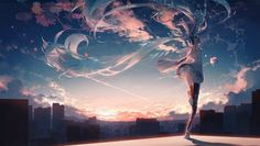 VOCALOID, hatsune miku, livetune / 「never ender」 - pixiv Sci Fi Wallpaper, Anime Scenery Wallpaper, Anime Artwork, Iphone Wallpaper, Hatsune Miku, Anime Girls, Dance Aesthetic, Kaai Yuki, Mikuo