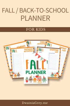 Keep your family organized by planning your family's fall activities. This colorful planner for kids and the whole family to use to plan your autumn and back-to-school. Comes with 2 printable PDF versions and 12+ cover options. Included - Undated Calendar: Aug, Sept, Oct, and Nov - Weekly Planner - Daily Planner - Fall Bucket List - Fall Reading List - Monthly Activity Planner - Indoor and Outdoor Planner - Family Activity Planner - Me Time Planner - Fall Shopping List - Fall Journal Pages Kids Planner, School Planner, Weekly Planner, School Information, Student Goals, Family Organizer, Back To School Shopping, Autumn Activities, Me Time
