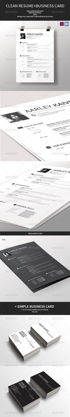 Clean Resume + Business Card - resume business cards