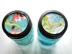 The Cottage Home: Craft Room Organization: Fabric Lid Jar Tutorial