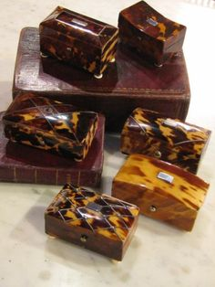 A collection of delightful tortoise shell snuff boxes.