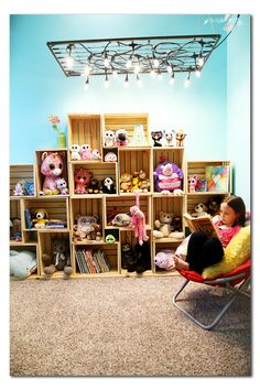 Crate shelving for stuffed animals and books.