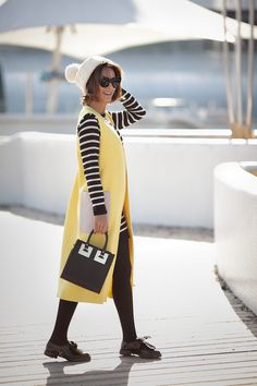 wool waistcoat, sophie hulme, sophie hulme bag outfit, striped jumper dress, autumn outfits,