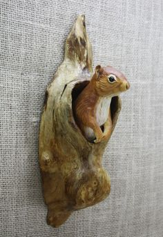 Red Squirrel Wood Carving Hand Carved by Mike Berlin, Wall Sculpture, Wildlife…