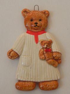 Bone China Painted Teddy Bear in Nightgown by baublesandblingforu, $7.00