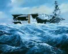 USS America (CV-66) Navy Day, Go Navy, Uss America, Us Navy Ships, Ship Art, Aircraft Carrier, Coast Guard, War Machine, Impressionism
