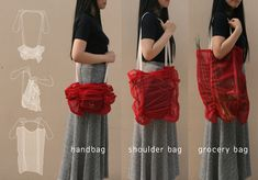 Shirley multi-purpose bag - great idea that reminds one of the shirred curtains in a previous era.