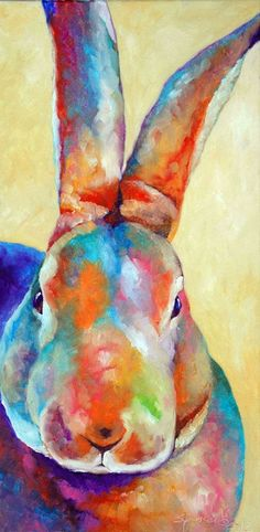 Colorful Belgian hare painting.: