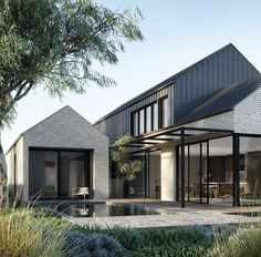 Architecture Discover The First Ruum Collection by Chamberlain Architects featuring Fisher & Paykel - The Local Project Modern Barn House, Modern House Design, Modern House Facades, Interior Exterior, Exterior Design, Facade Design, Gable House, Modern Farmhouse Exterior, Dream House Exterior