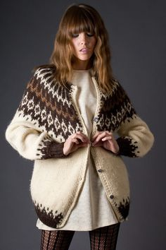80s Vintage Brown and Cream Sweater Jacket by TelltaleHearts, $65.00
