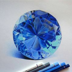 I have a hard time believing that this is a drawing and not a photo Diamond Drawing, Diamond Art, Jewelry Drawing, Jewelry Art, Jewellery, Tech Art, Jewelry Illustration, Polychromos, Color Pencil Art