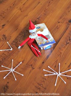 Dozens of Great The Elf on the Shelf Ideas found on Frugal Coupon Living. Easy Idea, Elf Makes Q-Tip Snowflakes.
