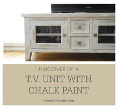 White Chalk Paint TV Console Makeover
