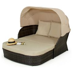 Maze Rattan Daybed with Hood FLA-106010 - Brown