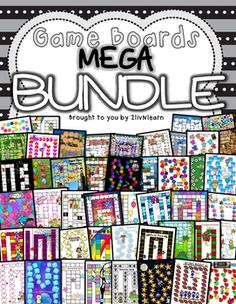 Game Boards MEGA BUNDLE The fun wont stop with this fabulous Game Boards MEGA BUNDLE!  This set includes 50 different game boards, each with a different theme and of varying difficulty. Included are 332 Sight Word Cards and 569 math fact cards (addition, subtraction, multiplication and division- each with and without answers) or make your own cards with the included blank template!