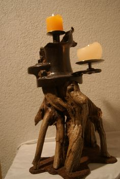Candlelight Brunnenpumpe Holz Upcycled Crafts, Wood Steel, Home Decor Accessories, Sculptures