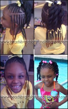 BEADS BRAIDS AND BEYOND /PLATS / . LITTLE GIRL HAIRSTYLES / BRAIDS / PROTECTIVE HAIRSTYLE / HAIRSTYLES / KIDS / BOW  / CORNROLLS / HAIRDO / UPDO / GIRL / TWIST HAIRSTYLE / NATURAL HAIRSTYLE / BEADS