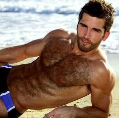 Hairy beach hunk