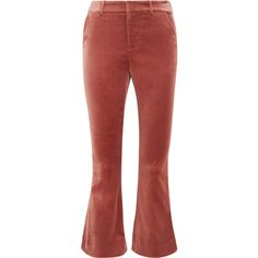 FRAME Cropped cotton-blend velvet flared pants (104.235 HUF) ❤ liked on Polyvore featuring pants, capris, brick, red velvet pants, velvet pants, cropped capri pants, cuffed pants and velvet flare pants