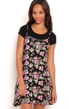 Deb Shops Layered Floral Print Spaghetti Strap Dress with Baby Tee $25.00