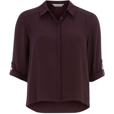 Dorothy Perkins Petite Roll Sleeve Shirt (52 BRL) ❤ liked on Polyvore featuring tops, blouses, shirts, t-shirts, purple, petite, petite blouses, three quarter sleeve shirts, purple collared shirt and collared shirt
