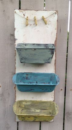 Repurposed upcycled metal Bread Pan Wall bins Shelf decor wood Organizer Sorter rustic