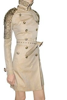 Studded Gabardine Trench Coat in Beige by Burberry Prorsum, $2994