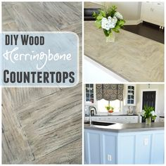 Looking for a unique countertop that won't break the bank? The Rozy Home's DIY Herringbone Wood Countertops are a unique way to bring style to your kitchen. Add a white or gray wash to the counters and you instantly have an old European, rustic feel.