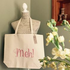 Meh Super shopper 100% cotton large tote  by TheCottonBobbins
