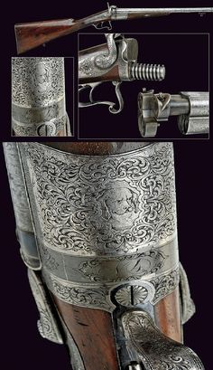 A very rare double-barrelled percussion/pin-fire gun by Toni, Rome, 19th century.