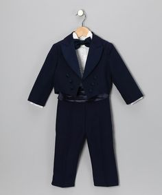 Take a look at this Lida Navy Cummerbund Tux Set - Infant & Boys by Lida on #zulily today!
