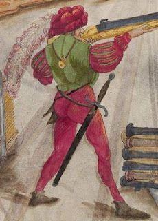 Zeugbuch Kaiser Maximilians I [Book of Emperor Maximilian's Stuff?], BSB Cod.icon.222, 29r, c. 1502; Landsknecht [foot soldier / land soldier]
