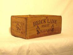 Vintage antiqued wooden box, crate, trug, Large BRICK LANE FRUIT MARKET in Antiques, Antique Furniture, Boxes/ Chests | eBay