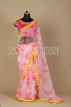 Beautiful pink and white color combination tie die saree with yellow color tassels all over boarder of saree. call / whatsapp to place order 970131056. 12 January 2018
