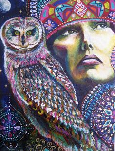 Rainbow Owl mystic Cosmic Galaxy Goddess by Isabel Bryna of MariposaGalactica