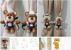 Moldes de sujeta cortinas de Osos hechos con filtro12 Bear Felt, Curtain Tie Backs, Stuffed Toys Patterns, Elsa, Crochet, Baby Shower, Curtains, Templates, Design