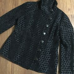 Stunning Chico jacket Chico jacket has polka dot pattern in all black. Soft material with large dark buttons on the side. 2 front pockets. Very cute jacket pairs well with any bottoms. Runs larger Chico's Jackets & Coats Blazers