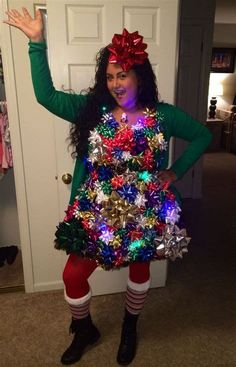 tacky christmas costumes 19 + awesome unique Christmas sweater ideas to light you up Couple Christmas, Christmas Dress Women, Christmas Fancy Dress, Christmas Outfits, Christmas Costumes, Christmas 2019, Funny Christmas, Christmas Decor, Winter Outfits