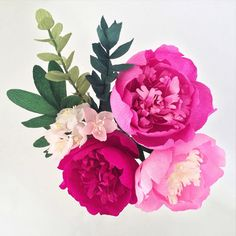 Peonies and cherry blossoms crepe paper flowers