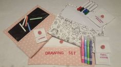 Handmade drawing set with chalkboard whiteboard and fabric with textile markers!summer gift for a girl princess! by DVSparkS on Etsy