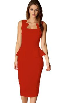 ade2envy Bodycon Midi or Mini Peplum Dress with Square Neckline- http://www.amazon.com/dp/B00FWDHKU8/?tag=shops0d-20