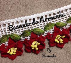 "OFICINA DO BARRADO: Crochê - Novo Barrado ""3D""... Crochet Lace Edging, Crochet Motifs, Crochet Borders, Crochet Art, Crochet Home, Thread Crochet, Love Crochet, Filet Crochet, Crochet Doilies"