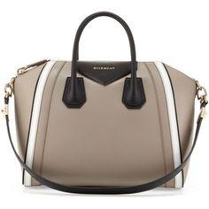 Givenchy Antigona Small Tricolor Satchel Bag,Taupe/White/Black